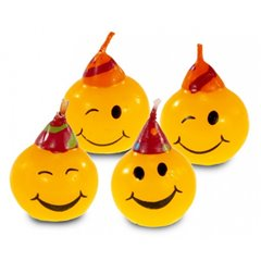 Mini figure candles Smiley, Amscan RM552129, Pack of 4 Pieces