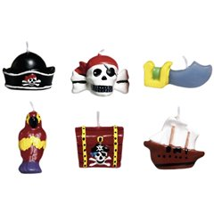 Pirates Treasure Mini Moulded Cake Candles, Amscan 179877, Pack of 6 Pieces