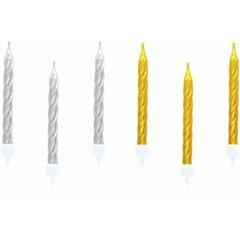 Lumanari aniversare pentru tort spiralate aurii si argintii, Amscan 551760, Set 10 buc