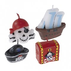 Pirates Treasure Mini Moulded Cake Candles, Amscan RM551283, Pack of 4 Pieces