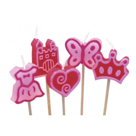 Lumanari aniversare pentru tort minifigurine roz, Amscan RM551517, Set 8 buc