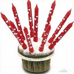 Lumanari aniversare rosii cu inimioare albe pentru tort, Amscan 550334, Set 10 buc