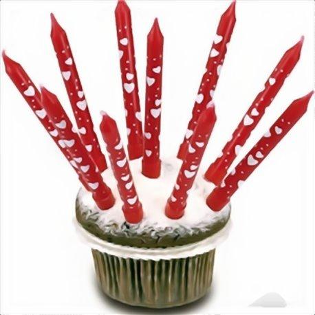 Lumanari aniversare rosii cu inimioare albe pentru tort, Amscan RM550334, Set 10 buc
