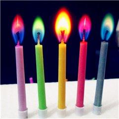 Lumanari aniversare pentru tort cu flacara colorata, Radar MF15, Set 10 buc