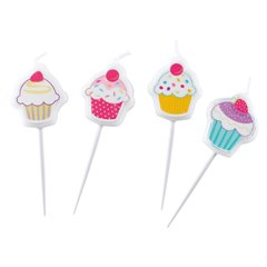 Cupcake Mini Figure Candles, Amscan 997220, Pack of 4 Pieces