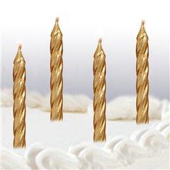 Lumanari aniversare pentru tort spiralate aurii, Amscan INT996459, Set 10 buc