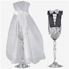 Bride & Groom Stemware, Amscan 355000, Pack of 2 pieces