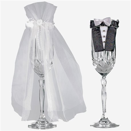 Ornamente pahare de sampanie miri pentru nunta, Amscan 355000, Set 2 buc
