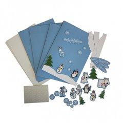 Joyful Snowman Christmas Card Making Craft Kit, Amscan 996776, Pack of 4 pieces