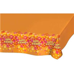 Orange table cover with Happy Birthday, Amscan 550907, 1 piece
