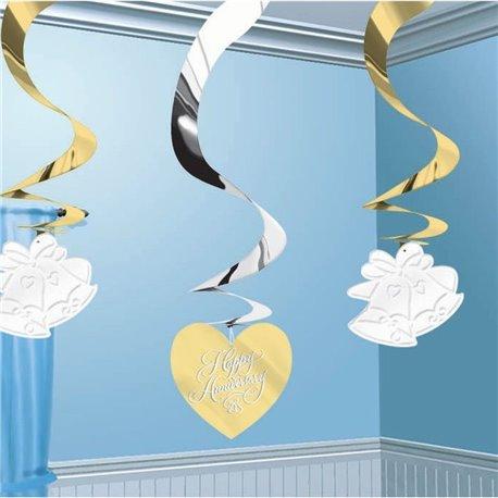 Serpentine decorative pentru petrecere cu inimioare si clopotei, Amscan 679607, Set 5 buc