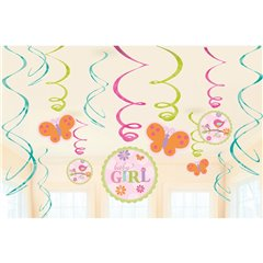 Tweet Baby Girl Swirl Value Pack Decorations, Amscan 671116, Pack of 12 pieces