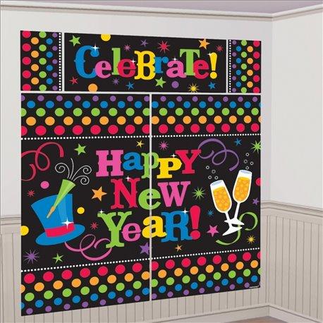 Kit decoratiuni de perete pentru Revelion - Happy New Year, Amscan 670073, Set 5 piese