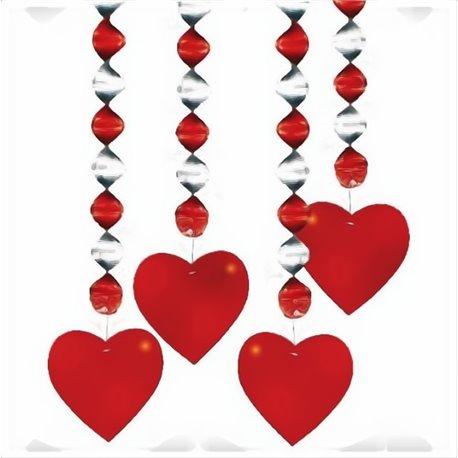 Serpentine decorative cu inimioare rosii pentru Sf. Valentin, Amscan 4041 , Set 4 buc