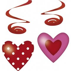 Deco spirals Hearts, Amscan RM400232, Pack of 4 pieces