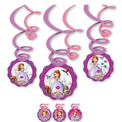 Disney Sofia the First Swirl Decorations, Amscan 997165, Pack of 6 pieces