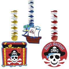 Pirate Party Printed Dangling Cutouts, Amscan 138221, Pack of 3 pieces