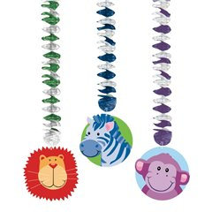 Jungle Animals Printed Dangling Cutouts, Amscan 199951, Pack of 3 pieces