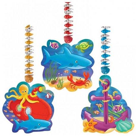 Serpentine decorative Deep Sea Fun pentru petrecere, Amscan 199305, Set 3 buc