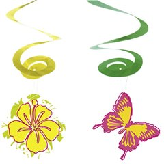 Summer Deco spirals, Amscan RM400235, Pack of 4 pieces