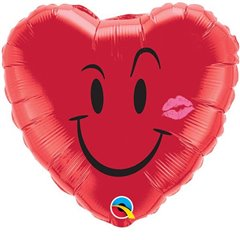"Naughty Smile & A Kiss Heart Shaped Foil Balloon - 18""/45cm, Qualatex 10937"