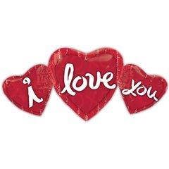 Foil Balloon 3 Hearts I love you, Amscan, 14919
