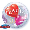 "Balon Bubble 22""/56cm Qualatex, I Love You, 16676"