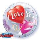 "I Love You Bubble Balloon - 22""/56cm, Qualatex 16676, 1 piece"