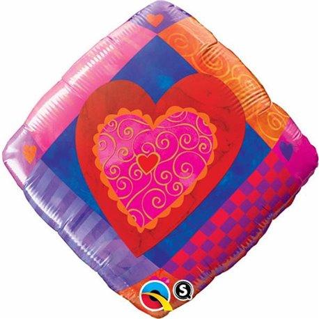 Balon Folie 45 cm Patrat cu Inimioare, Qualatex 33178