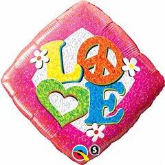 Balon Folie 45 cm Love Peace Sign, Qualatex 29596