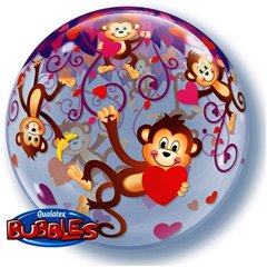 "Balon Bubble 22""/56 cm, Monkey, Qualatex, 40193"
