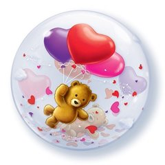 "Balon Bubble 22""/56 cm, Teddy bear's hearts, Qualatex, 65205"