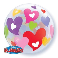 "Balon Bubble 22""/56 cm, Inimi colorate, Qualatex Q27406"