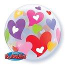 """Bubble balloon 22""""/56 cm, Colorful hearts Valentine, Qualatex, Q27406"""