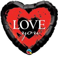 """Love You Mini Shape Heart Foil Balloon - 9""""/23cm, Qualatex 40096"""