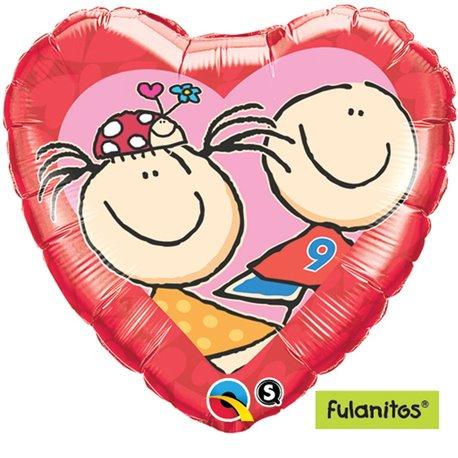 Balon Folie 45 cm Inima Faula & Goleiro In Love, Qualatex 65421