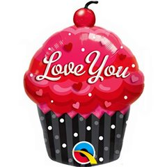 Balon Mini Figurina Love You Cupcake, umflat + bat si rozeta, Qualatex 40129