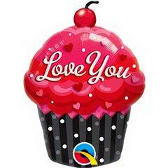 """Love You Cupcake Mini Shape Foil Balloon - 14""""/35cm, Qualatex 40129"""