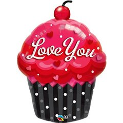 Love You Cupcake Shape Foil Balloon - 51x74 cm, Qualatex 40143
