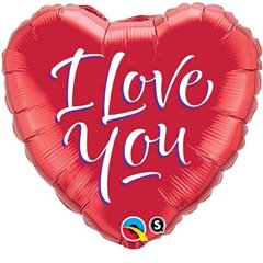"I Love You Script Modern Heart Shaped Foil Balloon - 18""/45cm, Qualatex 29133"