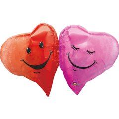 Balon mini figurina 2 inimioare, umflat + bat si rozeta, Amscan 0757902