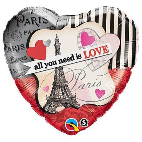 Balon Folie 45 cm Inima All You Need Is Love, Qualatex 65096