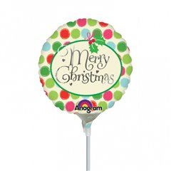 "Balon Mini Folie ""Merry Christmas"" cu buline + bat si rozeta, Amscan 27274"