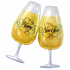 New Year Toasting Glasses Shape Foil Balloon - 69x76 cm, Amscan 11707
