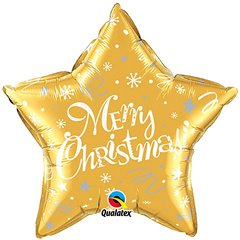 Merry Christmas Festive Gold Star Foil Balloon, Qualatex 99814