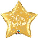 """Balon Folie 45 cm Stea """"Merry Christmas"""" auriu, Qualatex 99814"""