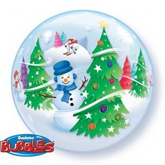 Festive Trees & Snowmen Bubble Balloon, Q 31851