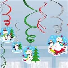 Joyful Snowman Value Pack Swirl Decorations, Amscan 679731, Pack of 12 pieces