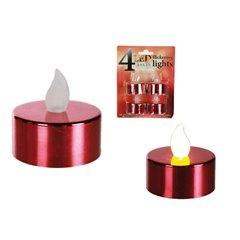 Lumanari decorative rosii cu LED, OOTB 950025, Set 4 buc