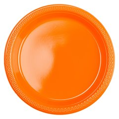 Farfurii orange din plastic - 23cm, Amscan 552285-05, Set 10 buc